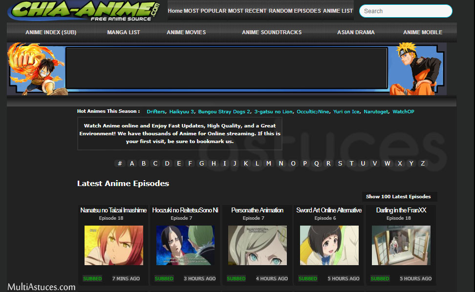 sites de streaming d'anime