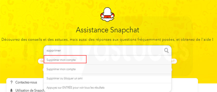 supprimer le compte Snapchat