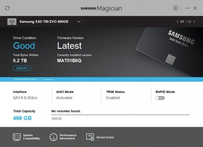 check the status of SSD drives