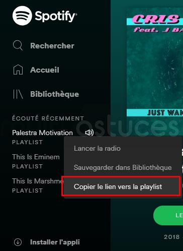 lecteur Web Spotify