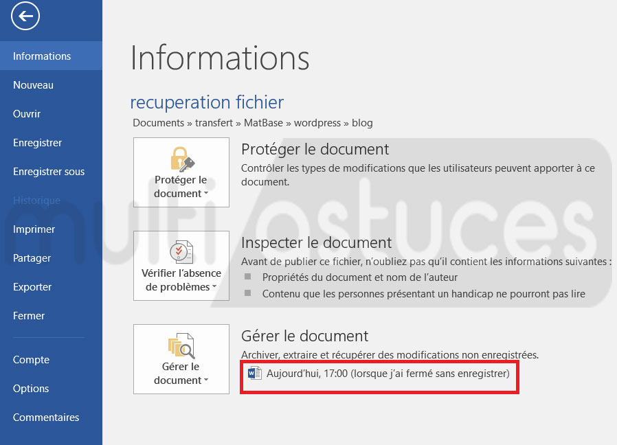 récupérer un document Word non sauvegardé