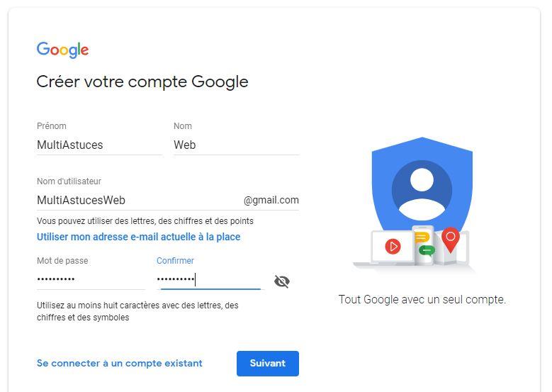 Gmail sans numéro de téléphone