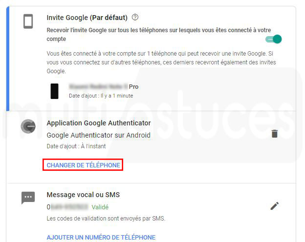 Transférer Google Authenticator