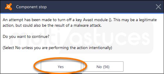 désactiver Avast Antivirus