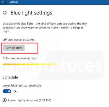 activer le filtre Lumière bleue Windows 10