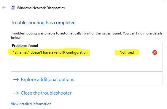 Ethernet n'ont pas de configuration IP valide